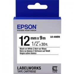 Epson - LK-4WBN - Epson LabelWorks Standard LK Tape Cartridge ~1/2 Black on White - 1/2 Width x 30 ft Length - Thermal Transfer - White - 1 Roll