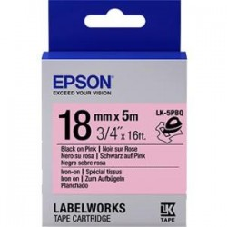 Epson - LK-5PBQ - Epson LabelWorks Iron on (Fabric) LK Tape Cartridge ~3/4 Black on Pink - 3/4 Width x 16 ft Length - Thermal Transfer - Pink