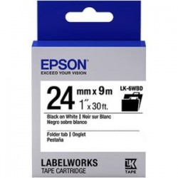 Epson - LK-6WBD - Epson LabelWorks Folder Tab LK Tape Cartridge ~1 Black on White - 1 Width x 30 ft Length - Thermal Transfer - White