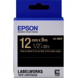 Epson - LK-4BKP - Epson LabelWorks Standard LK Tape Cartridge ~1/2 Gold on Black - 1/2 Width x 30 ft Length - Thermal Transfer - Black