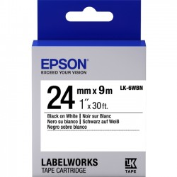 Epson - LK-6WBN - Epson LabelWorks Standard LK Tape Cartridge ~1 Black on White - 1 Width x 30 ft Length - Thermal Transfer - White