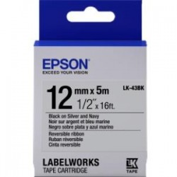 Epson - LK-43BK - Epson LabelWorks Reversible Ribbon LK Tape Cartridge ~1/2 Black on Silver & Navy - 1/2 Width x 16 ft Length - Thermal Transfer - Silver, Navy