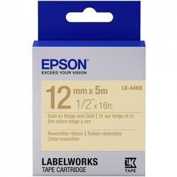 Epson - LK-44KK - Epson LabelWorks Reversible Ribbon LK Tape Cartridge ~1/2 Gold on Beige & Gold - 1/2 Width x 16 ft Length - Thermal Transfer - Beige, Gold