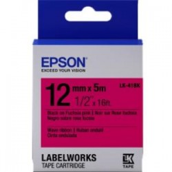 Epson - LK-41BK - Epson LabelWorks Wave Ribbon LK Tape Cartridge ~1/2 Black on Fuchsia pink - 1/2 Width x 16 ft Length - Thermal Transfer - Fuchsia Pink