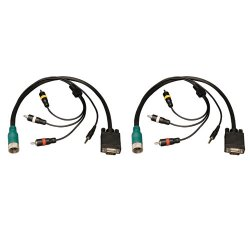 Tripp Lite - EZA-VGACSAM-2 - Tripp Lite Easy Pull Type-A VGA Connector Kit RCA Audio-Composite Video M/M - 2 Pack - 1 x HD-15 Male VGA, 1 x Mini-phone Male Stereo Audio, 3 x RCA Male Audio/Video - 1 x DIN Male Audio/Video