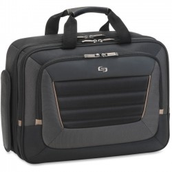 Solo Cases - PRO1464 - Solo Carrying Case (Briefcase) for 15.6 Notebook - Black, Tan - Handle, Shoulder Strap - 11 Height x 15.8 Width x 2 Depth