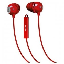 Maxell - 196133 - Maxell Classic Earbud with Mic Red - Stereo - Red - Wired - Earbud - Binaural - In-ear