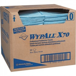 "Kimberly-Clark - 05927 - Wypall WypAll X70 Foodservice Towel Wipers - Quarter-fold - 12.50"" x 23.50"" - Blue - Hydroknit - Reusable, Strong, Textured, Sturdy, Machine Washable, Absorbent, Long Lasting, Durable - For Food Service - 300 / Carton"