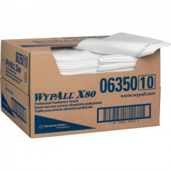 "Kimberly-Clark - 06350 - Wypall X80 Foodservice Towel - Quarter-fold - 13.50"" x 24"" - White, Blue - Durable, Machine Washable, Strong, Reusable, Soft - For Food Service - 150 / Carton"