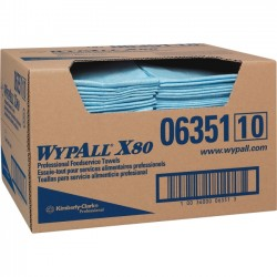 "Kimberly-Clark - 06351 - Scott WypAll X80 Blue Foodservice Towels - Quarter-fold - 13.50"" x 24"" - Blue - Durable, Machine Washable, Strong, Reusable, Soft - For Food Service - 150 / Carton"