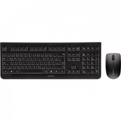 Cherry - JD-0700EU-2 - Cherry DW 3000 Keyboard & Mouse - USB Wireless RF Keyboard - English (US) - Black - USB Wireless RF Mouse - Optical - 1200 dpi - 3 Button - Scroll Wheel - Black - Symmetrical