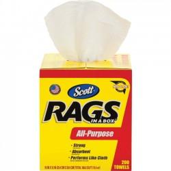 Kimberly-Clark - 75260CT - Scott Rags In A Box Towels - Wipe - 10 Width x 13 Length - 200 / Box - 8 / Carton - White