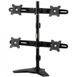 Amer Networks - AMR4SU - Amer Mounts Stand Based Quad Monitor Mount for four 15-24 LCD/LED Flat Panel Screens - Supports up to 17.6lb monitors, +/- 20 degree tilt, and VESA 75/100