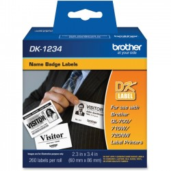 Brother International - DK1234 - Brother DK1234 - Adhesive Name Badge Labels - 2.36 Width x 3.39 Length - Rectangle - Direct Thermal - White - Paper - 260 / Roll