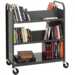Bretford - V336-RN5 - Bretford Duro V336-RN5 Book Cart - 3 Shelf - Round Handle - 4 Casters - Steel - 36 Width x 18 Depth x 43 Height - Raven