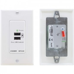 Kramer Electronics - WP-2UC - Kramer Active Wall Plate - USB Charger - 5 V DC Input - 5 V DC Output - Input connectors: USB