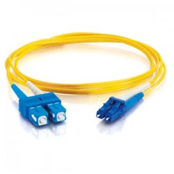 C2G (Cables To Go) - 14419 - C2G 5m LC-SC 9/125 OS1 Duplex Singlemode PVC Fiber Optic Cable (USA-Made) - Yellow - Fiber Optic for Network Device - LC Male - SC Male - 9/125 - Duplex Singlemode - OS1 - USA-Made - 5m - Yellow