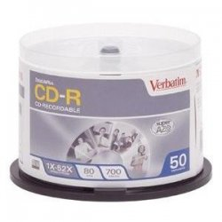 Verbatim / Smartdisk - 94938 - Verbatim CD-R 700MB 52X DataLifePlus Crystal Thermal Printable - 50pk Spindle - 700MB - 50 Pack