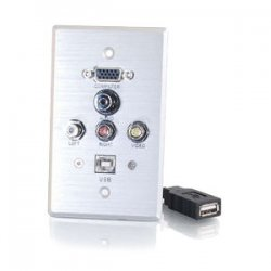 C2G (Cables To Go) - 40543 - C2G Single Gang HD15 + 3.5mm + RCA A/V + USB Wall Plate - Brushed Aluminum - 1-gang