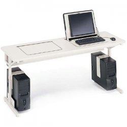 Bretford - 35SD25-GMQ - Bretford Connections 35SD25 SmartDeck Computer Desk - Rectangle Top - 72 Table Top Width x 24 Table Top Depth - 32 Height - Mist Gray, Quartz