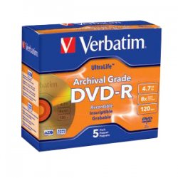 Verbatim / Smartdisk - 96320 - Verbatim DVD-R 4.7GB 16X UltraLife Gold Archival Grade with Branded Surface and Hard Coat - 5pk Jewel Case - 4.7GB - 5 Pack