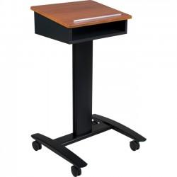 Best-Rite / MooreCo - 27574 - Balt Lumina Mobile Podium & Speaker Stand - 44.8 Height x 25 Width x 24 Depth - Steel, Medium Density Fiberboard (MDF) - Black, Cherry, Silver