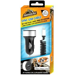 Armor All - AMC8-1001-BLK - Armor All Sync & Charge Lightning Connector w/ 2.4amp Car Plug - 5 V DC Output Voltage - 2.40 A Output Current