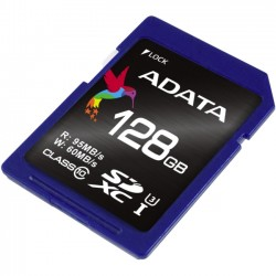 A-DATA Technology - ASDX128GUI3CL10-R - Adata Premier Pro 128 GB SDXC - Class 10/UHS-I (U3) - 95 MB/s Read - 60 MB/s Write - Retail