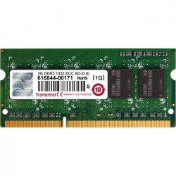 Transcend - TS256MSK72V3N-I - Transcend 2GB DDR3 1333 ECC-SO-DIMM CL9 1Rx8 IND - 2 GB (1 x 2 GB) - DDR3 SDRAM - 1333 MHz DDR3-1333/PC3-10600 - 1.50 V - ECC - Unbuffered - 204-pin - SoDIMM