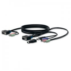 Belkin / Linksys - F1D9102-06 - Belkin SOHO KVM Replacement Cable Kit - HD-15 Male, mini-DIN Male Keyboard/Mouse, Type A Male USB, Mini-phone Male, HD-15, Mini-phone Male - 6ft - Gray