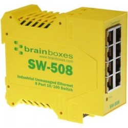 Brainboxes - SW-508 - Brainboxes Industrial Unmanaged Ethernet Switch 8 Ports - 8 Network - Twisted Pair - 2 Layer Supported - Rail-mountable - Lifetime Limited Warranty