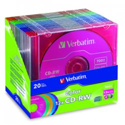 Verbatim / Smartdisk - 96685 - Verbatim CD-RW 700MB 4X-12X DataLifePlus with Color Branded Surface and Matching Case - 20pk Slim Case, Assorted