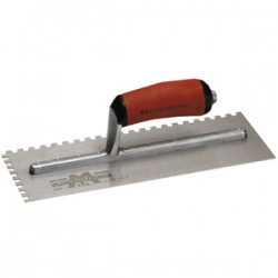 "Marshalltown Trowel - 15709 - Marshalltown 15709 Notched Trowel with Curved Handle - 11"" Length - Steel - 6 / Box"