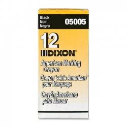 """Dixon Ticonderoga - 05005 - Dixon Long-Lasting Marking Crayon - 5"""" Crayon Length - 0.56"""" Crayon Diameter - Black Wax - 1 Dozen"""