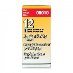 "Dixon Ticonderoga - 05010 - Dixon Long-Lasting Marking Crayon - 5"" Crayon Length - 0.56"" Crayon Diameter - Red Wax - 1 Dozen"