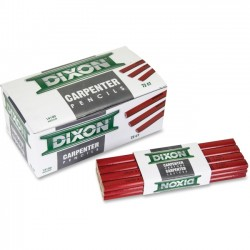 Dixon Ticonderoga - 14100 - Dixon Economy Flat Carpenter Pencils - Medium Pencil Point Type - Red Lead - 1 Dozen