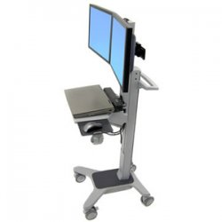 Ergotron - 24-194-055 - Ergotron Neo-Flex Dual WideView WorkSpace Cart - 40 lb Capacity - 4 - Aluminum, Plastic, Steel - Gray