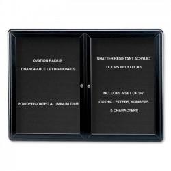 Ghent - OVK2-BBK - Ghent Ovation OVK2-B Changeable Letter Board - 34 Height x 47 Width - Black Aluminum Frame - 1 Each