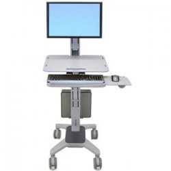 Ergotron - 24-198-055 - Ergotron WorkFit C-Mod Single Display Sit-Stand Workstation - Steel, Plastic, Aluminum - Two-tone Gray
