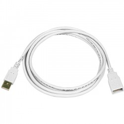Monoprice - 8606 - Monoprice 6ft USB 2.0 A Male to A Female Extension 28/24AWG Cable (Gold Plated) - WHITE - USB - Extension Cable - 6 ft - 1 x Type A Male USB - 1 x Type A Female USB - Gold Plated Connector - White