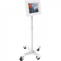 "Compulocks Brands - MCRSTDW235SMENW - MacLocks Rise Freedom Rolling iPad Kiosk - Fits iPad, iPad Pro & iPad Mini - 55.2"" Height - Floor - Metal - White"