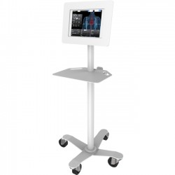 """Compulocks Brands - MCRSTDW260ROKW - MacLocks Rise Freedom Rolling Galaxy Tab Kiosk - Galaxy Tab Rolling Stand - Up to 9.7"""" Screen Support - 55.2"""" Height - Freestanding - White"""