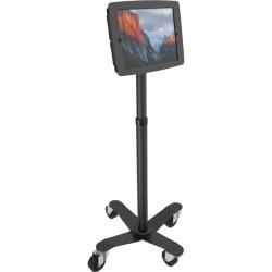 """Compulocks Brands - MCRSTDB290SENB - MacLocks Rise Freedom Rolling iPad Kiosk - Fits iPad, iPad Pro & iPad Mini - Up to 12.9"""" Screen Support - 55.2"""" Height - Floor - Metal - Black"""