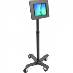 "Compulocks Brands - MCRSTDB680AGEB - MacLocks Rise Freedom Rolling Galaxy Tab Kiosk - Galaxy Tab Rolling Stand - Up to 8"" Screen Support - 55.2"" Height - Freestanding - Black"