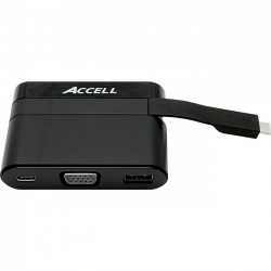 Accell - U205B-001B - Accell USB-C Mini Dock - VGA, USB-A 3.0, and USB-C Charging Port - for Notebook/Smartphone - USB Type C - 2 x USB Ports - 1 x USB 3.0 - VGA - Wired