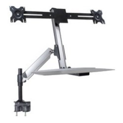 Doublesight - DS-ERGO-200 - DoubleSight Displays DS-ERGO-200 Mounting Arm for Monitor, Mouse, Keyboard - 24 Screen Support - 48 lb Load Capacity - Black, Brushed Aluminum