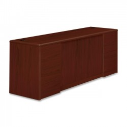 HON - 10742NN - HON 10700 Series Double Pedestal Credenza with Doors - 72 x 24 x 29.5 - 4 x File Drawer(s) - 2 Door(s) - Double Pedestal - Waterfall Edge - Material: Wood - Finish: Laminate, Mahogany