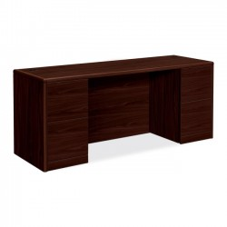 HON - 10741NN - HON 10700 Series Double Pedestal Credenza with Kneespace - 72 x 24 x 29.5 - 4 x File Drawer(s) - Double Pedestal - Waterfall Edge - Material: Wood - Finish: Laminate, Mahogany
