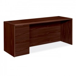 HON - 10708LNN - HON 10700 Series Left Pedestal Credenza - 72 x 24 x 29.5 - 2 x File Drawer(s) - Single Pedestal on Left Side - Waterfall Edge - Material: Wood - Finish: Laminate, Mahogany
