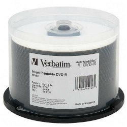 Verbatim / Smartdisk - 94906 - Verbatim MediDisc DVD-R 4.7GB 8X White Inkjet Printable with Branded Hub - 50pk Spindle - Inkjet Printable